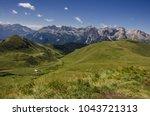 catinaccio rosengarten mountain ... | Shutterstock . vector #1043721313