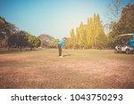 man playing golf on a golf... | Shutterstock . vector #1043750293