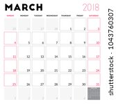 calendar planner for march 2018.... | Shutterstock .eps vector #1043760307