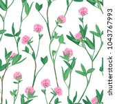 hand drawn floral seamless... | Shutterstock .eps vector #1043767993