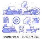 vintage things and objects.... | Shutterstock .eps vector #1043775853