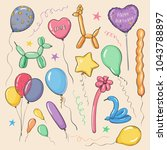 colored collection of balloons... | Shutterstock .eps vector #1043788897
