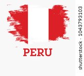 peru flag with brush strokes. | Shutterstock . vector #1043793103