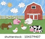 farm animals stand in front of... | Shutterstock . vector #104379407