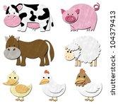 a set of animal farm pastel... | Shutterstock . vector #104379413