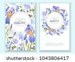 Stock vector vector botanical banners with blue flowers and dragonfly on white floral design for natural 1043806417