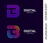 letter b colorful logotype with ... | Shutterstock .eps vector #1043815207