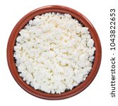 cottage cheese in a  bowl... | Shutterstock . vector #1043822653