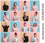 the collage of different human...   Shutterstock . vector #1043829103