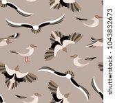 the seagulls. seamless pattern... | Shutterstock .eps vector #1043832673