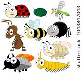 vector cute bugs and insects... | Shutterstock .eps vector #1043847043