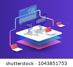 isometric laptop. smart object... | Shutterstock .eps vector #1043851753