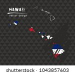 hawaii map with flag inside on... | Shutterstock .eps vector #1043857603