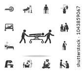 nurse lead patient in gurney... | Shutterstock .eps vector #1043859067