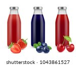 realistic bottles with berry... | Shutterstock .eps vector #1043861527