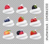 berries and white cream. 3d... | Shutterstock .eps vector #1043861533