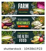 vegetables and fresh organic... | Shutterstock .eps vector #1043861923