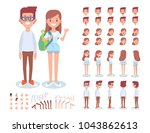 front  side  back  3 4 view... | Shutterstock .eps vector #1043862613