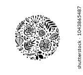 flower circle shape pattern.... | Shutterstock .eps vector #1043865487