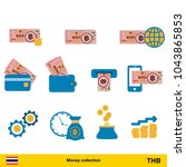 set of thai baht. banknote and...   Shutterstock .eps vector #1043865853