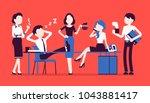 lunchtime in office. team of... | Shutterstock .eps vector #1043881417