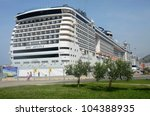 DUBROVNIK, CROATIA - JUNE 1: the MSC Divina cruise ship on her maiden voyage, docked in Dubrovnik, Croatia on June 1, 2012. The Divina is MSC's largest ship and can hold 3,959 passengers. - stock photo