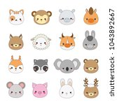 cute animals faces. big set of... | Shutterstock .eps vector #1043892667
