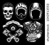 motorcycle vector elements set... | Shutterstock .eps vector #1043913553