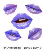 violet sensual juicy lips... | Shutterstock .eps vector #1043916943