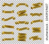 golden ribbon set transparent... | Shutterstock .eps vector #1043919607