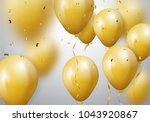 celebration with gold balloon... | Shutterstock .eps vector #1043920867