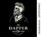 hipster skull barber shop logo... | Shutterstock .eps vector #1043924467