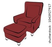 sofa furniture vector isolated... | Shutterstock .eps vector #1043927917