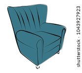 sofa furniture vector isolated... | Shutterstock .eps vector #1043927923