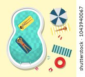 vector flat pool party poster ... | Shutterstock .eps vector #1043940067