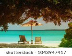 two beach chairs on tropical... | Shutterstock . vector #1043947417