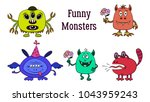 set of funny colorful cartoon...   Shutterstock .eps vector #1043959243