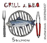 bbq and grill logo. salmon on a ... | Shutterstock .eps vector #1043960437