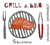 bbq and grill logo. salmon... | Shutterstock .eps vector #1043960827