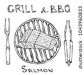 bbq and grill logo. salmon... | Shutterstock .eps vector #1043960833