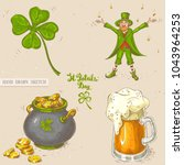 linear sketch of leprechaun... | Shutterstock .eps vector #1043964253