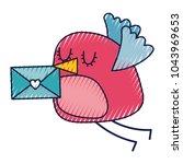 sweet bird with envelope...   Shutterstock .eps vector #1043969653