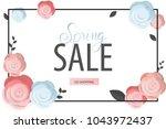 spring flower sale promotion...   Shutterstock .eps vector #1043972437