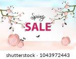 spring flower sale promotion...   Shutterstock .eps vector #1043972443