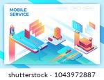 mobile travel concept  landing... | Shutterstock .eps vector #1043972887