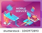 mobile travel concept  landing... | Shutterstock .eps vector #1043972893