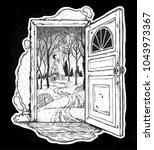 open door into a nature. hand...   Shutterstock .eps vector #1043973367