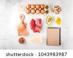 ketogenic low carbs diet... | Shutterstock . vector #1043983987
