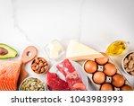 ketogenic low carbs diet... | Shutterstock . vector #1043983993