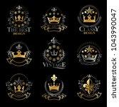 royal crowns emblems set.... | Shutterstock .eps vector #1043990047